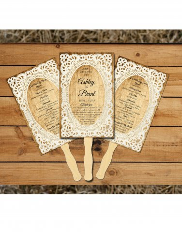Rustic Lace Personalized Wedding Program Fans/Wedding Fan Programs/ Wedding fans for guests