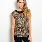 Brown Leopard Animal Print Blouse W/ Side Ruching Size M