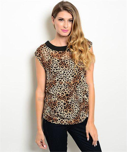 Brown Leopard Animal Print Blouse W/ Side Ruching Size L