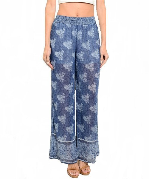 Blue Print Loose Fit Half Lined Palazzo Pants Size L