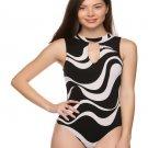 Black and White Wave Print Keyhole Bodysuit W/ Snap Closure Size M