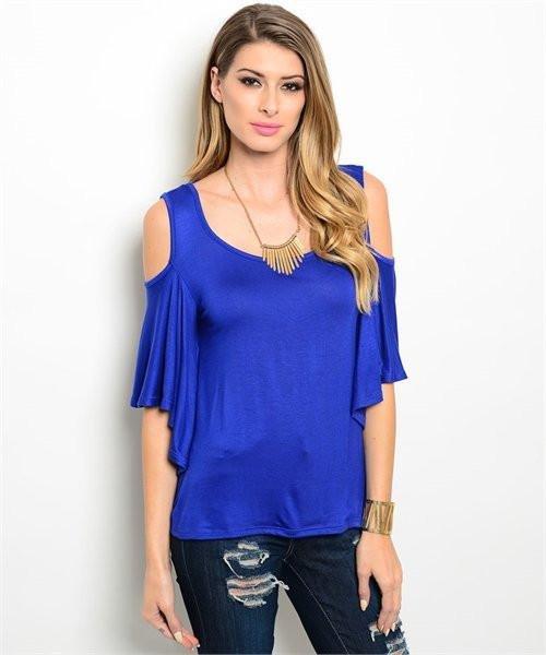Royal Blue Cold Shoulder Top W/ Flutter Sleeves Size L