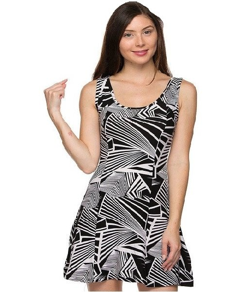 Black and White Fit and Flare Geo Print Mini Skater Dress Size L