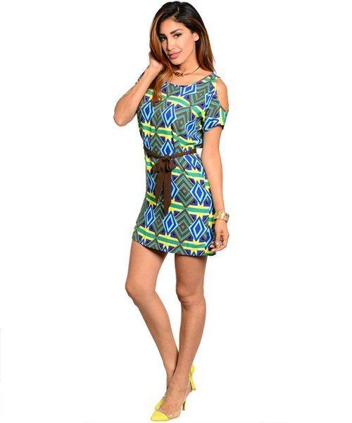 Yellow, Brown Cold Shoulder Diamond Print Tie Waist Shift Dress Size M
