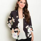 Black and Peach Open Front Floral Spring Blazer Jacket Size S