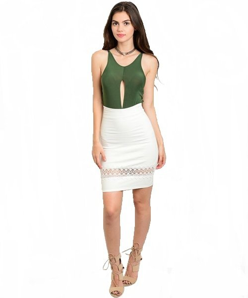 White Lace Detail Bodycon Pencil Skirt Size M