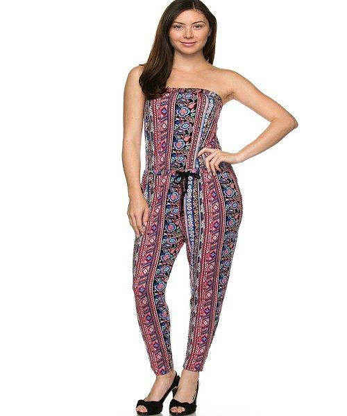 Black and Coral Printed Halter Tie Waist Tube Jumpsuit Size M