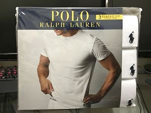 Polo Ralph Lauren Classic Fit Three 3 Pack Cotton Crew Neck Tee Shirt WHITE