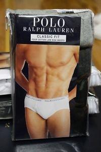 Polo Ralph Lauren Classic Fit Four 4 Pack Cotton Low Rise Briefs Underwear GREY