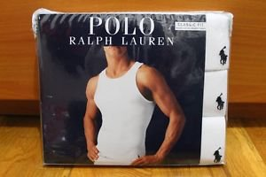 Polo Ralph Lauren 3 Three Pack Classic Fit Cotton Ribbed Tanks Top WHITE