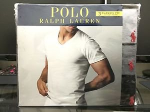 Polo Ralph Lauren Classic Fit Three 3 Pack Cotton V Neck T Tee Shirt Grey Multi