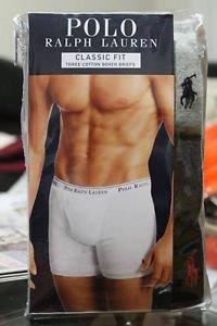 Polo Ralph Lauren Classic Fit Three 3 Pack Cotton Boxer Briefs Multi Gray Black