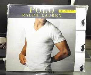 Polo Ralph Lauren Classic Fit Three 3 Pack Cotton V Neck T Tee Shirt White