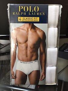 Polo Ralph Lauren Classic Fit Four 4 Pack Cotton Mid Rise Briefs Underwear White