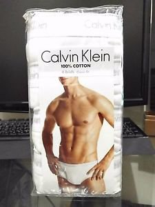 Calvin Klein 4 Pack Briefs Cotton Underwear Classic Fit WHITE MSRP $39.50 CHOOSE YOUR SIZE