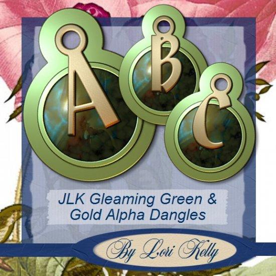 JLK Gleaming Green & Gold Alpha Dangles - ON SALE!