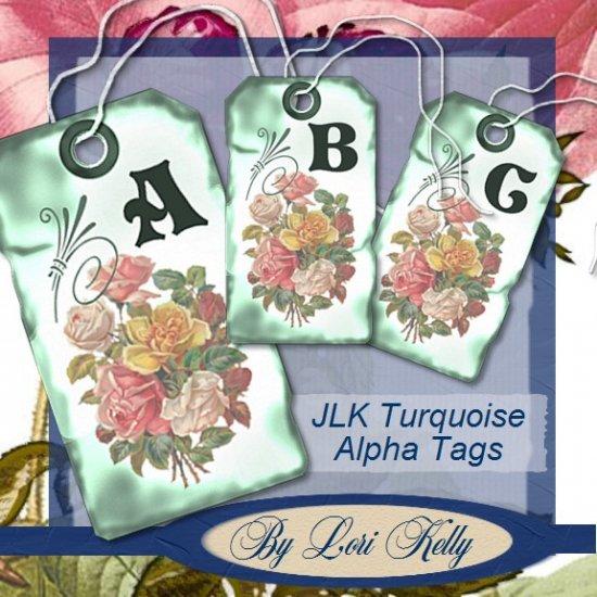 JLK Turquoise Alpha Tags - ON SALE!