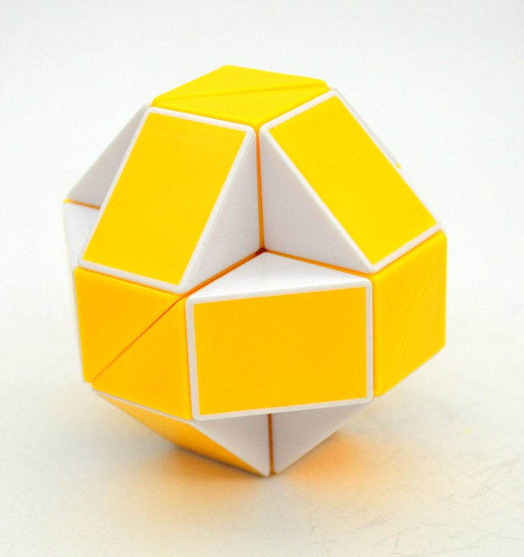 SHS Creative Changeable Rubik's Snake Magic Cube Puzzle Toy Yellow-White