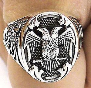 Handmade Men's Eagle MASONIC RING FREEMASON Sterling Silver Any Size free P&P