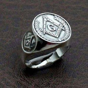Mens MASONIC RING GOLD SILVER Freemason Compasses Square Symbol Master free P&P