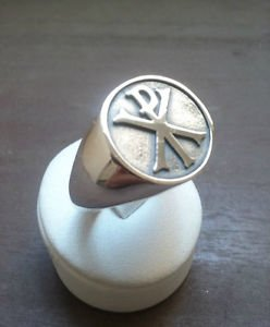 FREEMASON-MASONIC Silver RING Chi Rho Christian MASON RING free P&P