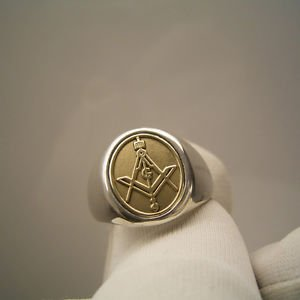 Handmade MASONIC RING FREEMASON Sterling Silver GOLD 10K Compasses free P&P