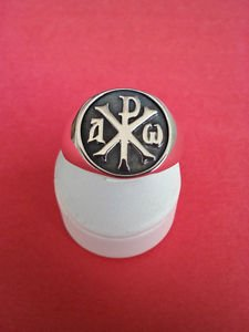 FREEMASON-MASONIC RING Silver Alpha and Omega Chi Rho Christian HANDMADE RING