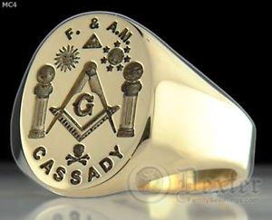 Mens MASONIC RING FREEMASON Gold MASON RING Boaz Jachin Compasses Symbol G