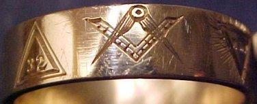 Masonic Band Ring 14 Degree 14K GOLD Freemason mason Scottish Rite 32 Master 3