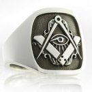 Handmade MASONIC Ring Eye of Ra Horus SILVER 925 & GOLD 14K Freemason Mason
