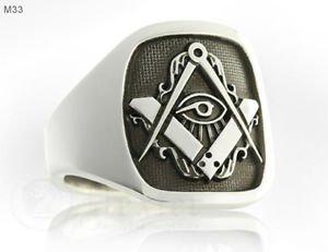 Handmade MASONIC Ring Eye of Ra Horus SILVER 925 & GOLD 14K Freemason Mason