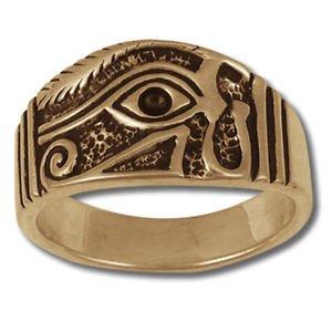 EYE HORUS RA RING Providence SILVER 925 GOLD 14 Freemason Mason Egyptian