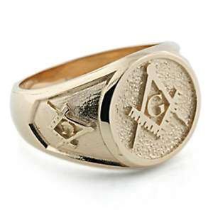MASONIC RING FREEMASON GOLD RING Symbol Compasses 32 Degree free P&P