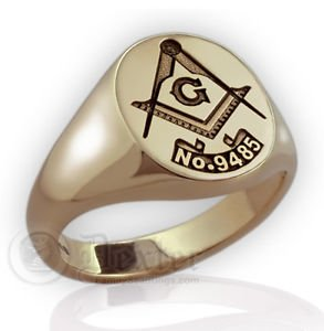Mens Custom LODGE Number MASONIC RING FREEMASON Gold Compasses Symbol free P&P