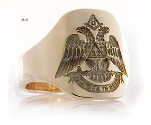 Spes mea in Deo Est MASONIC RING FREEMASON GOLD Double Head Eagle free P&P
