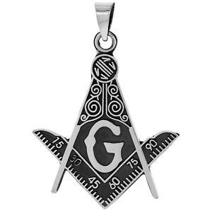 MASONIC NECKLACE STERLING SILVER 925 Handmade Compass Pendant Mason Master G
