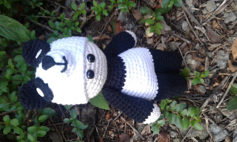 Baby in panda suit