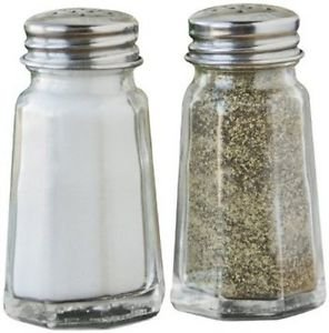 FREE S&H OCTAGONAL CLEAR GLASS SALT AND PEPPER SHAKERS WITH STAINLESS STEEL LIDS