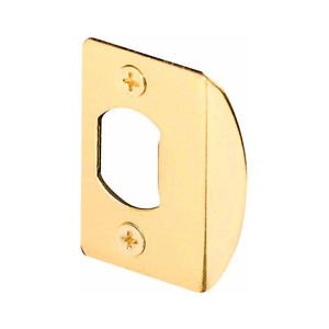 """NEW STANDARD SIZE 1-3/4"""" BRASS PLATED DOOR STRIKE PLATE REPLACEMENT KIT W/SCREWS"""