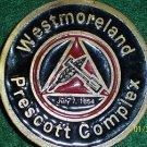 FREE S&H! WESTMORELAND COAL COMPANY PRESCOTT COMPLEX BELT BUCKLE
