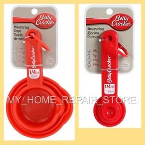 US SELLER! FREE S&H! RED BETTY CROCKER 8 PIECE PLASTIC MEASURING CUP & SPOON SET