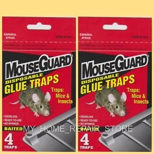 8 FOR $8! MOUSE GUARD GLUE TRAPS 2 BOXES OF 4 INSECTICIDE FREE BAITED GLUE TRAPS