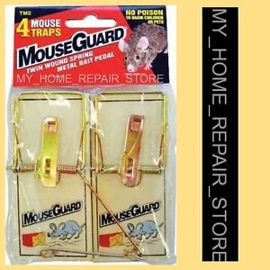4 FOR $7 !  FREE S&H ! 1 PACK OF 4 MOUSE GUARD SNAP SPRING REUSABLE MOUSE TRAPS