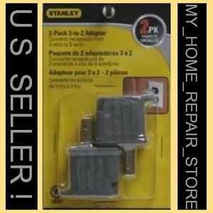 US SELLER ! 2 PACK !  STANLEY 3 TO 2 PRONG GROUNDING OUTLET ADAPTER CHEATER PLUG