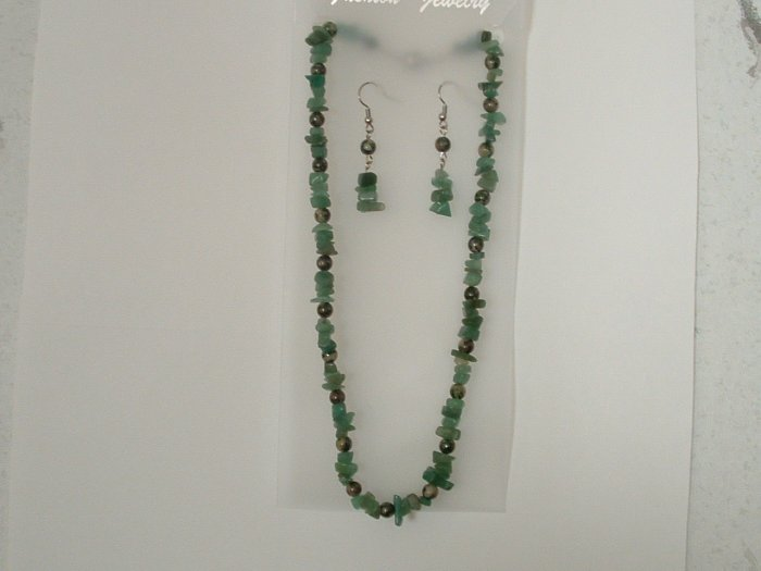 Natural Flourite With Dalmation Jasper Necklace Earring Set