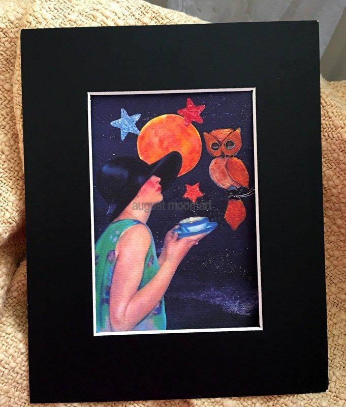 Full Moon Metaphysical Fantasy Fine Art Watercolor prints Beach Stroll Tea Sympathy Owl Deco Lady