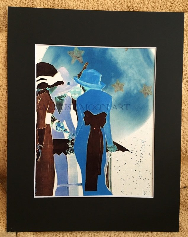 Full Blue Moon Glow Metaphysical Fine Art Watercolor Print Moonlight Magic Spell Cocktail Party