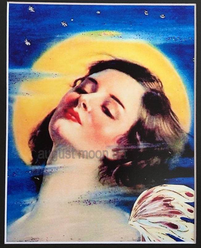 Fantasy Prints Sultry Full Moon Maiden swimming Moonlight Nymph Print Art Deco Sexy Fairy
