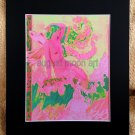 Metaphysical Fantasy Fine Art Watercolor prints Pink Mystical Semi Nude Mermaid Fairy Ocean Waves