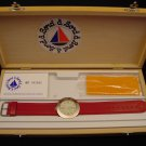 Bord a' Bord Solid Bronze French Made Watch, White & Gold w/ Red Leather, B13